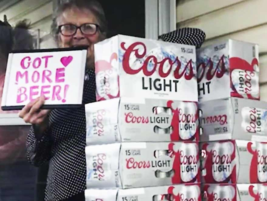 93 year old woman got a massive Coors Light delivery